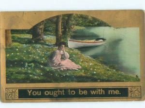 Divided-Back PRETTY WOMAN Risque Interest Postcard AA7816