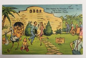 Fountain of Youth in St Augustine FLORIDA Vintage 1948 Comic Linen Postcard