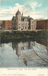 Binghamton New York~The Post Office Reflection on Pond~1906 Postcard