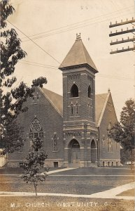 F39/ West Unity Ohio RPPC Postcard 1907 M.E. Church Building