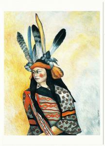 Crimson Daughter of Ancient People Patricia Wyatt Native American Art Postcard