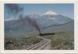ECUADOR, Panoramic View: The Ilinizas with a train, used Postcard