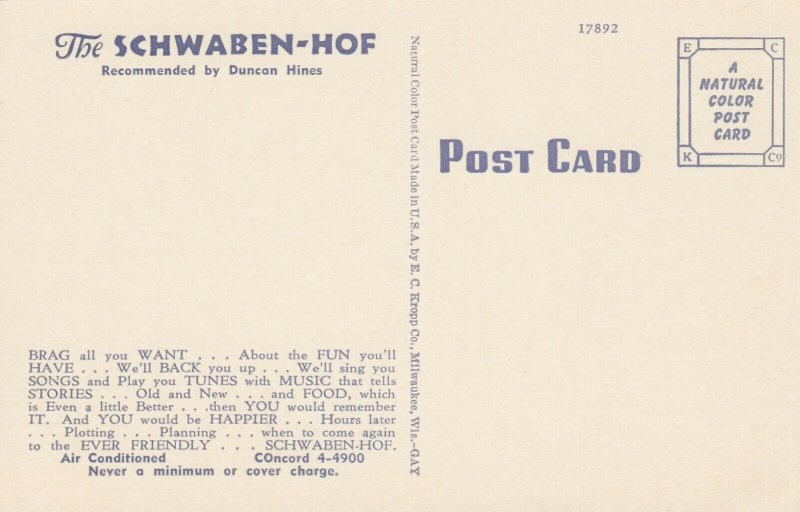 MILWAUKEE, Wisconsin, 1930-40s; Schwaben Hof, Finest Restaurant Bar Interior