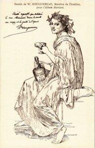 PC CPA ADVERTISING, MARIANI, DESSIN DE W. BOUGUEREAU, VINTAGE POSTCARD (b18069)