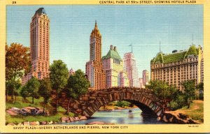 New York Savoy Plaza Sherry Netherlands and Pierre Hotels 1955 Curteich