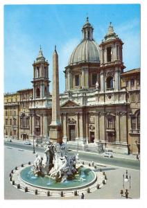 Italy Rome Church S Agnese Agone Fiumi Fountain Postcard 4X6