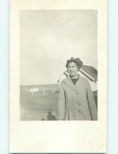 Pre-1918 rppc PRETTY WOMAN IN COAT AND HAT r5813