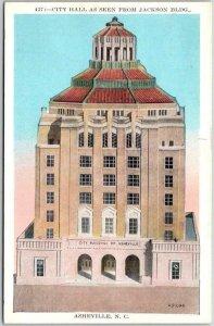 Asheville, North Carolina Postcard CITY HALL as Seen from Jackson Bldg. c1920s