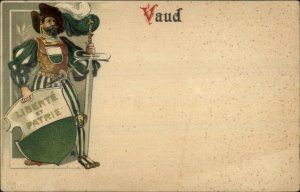 Knight Shield Sword Uniform Vaud Switerland Canton c1900 Lithograph Postcard