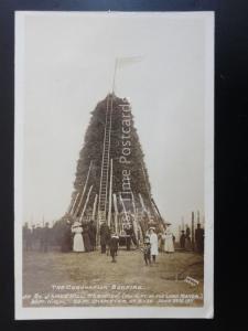 NORWICH St James Hill CORONATION BONFIRE Mousehold Heath - June 1911 RP Postcard