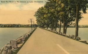 VT - Lake Champlain. Sand Bar Road to the Islands
