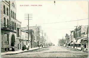 Vintage PIPESTONE, Minnesota Postcard OLIVE STREET Downtown Scene c1910s Unused