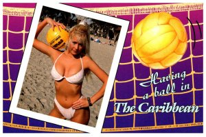 Sexy Girls in Bikini  holding Volleyball  , The Caribbean
