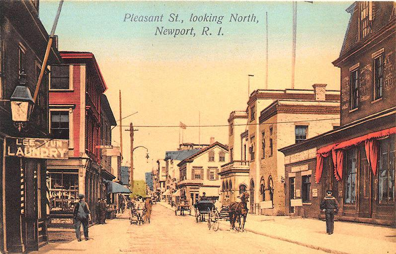 Newport RI Pleasant Street Lee-Yun Laundry Horse Wagons Store Fronts Postcard