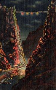 Colorado The Royal Gorge Illuminated By Floodlight At Night Curteich