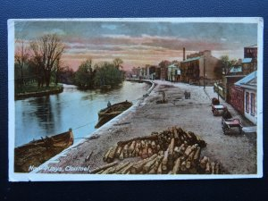 Ireland CLONMEL New Quays shows TIMBER BEING TRANSPORTED BY BARGE c1918 Postcard