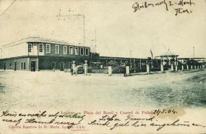 chile, IQUIQUE, Plaza del Brasil y Cuartel de Policia (1904) Stamp, H. Marin