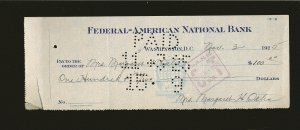 Federal American National Bank Washington DC 1925 Cancelled Check
