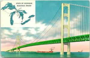 Mackinac Bridge, Michigan Postcard Strait / Steamer View Chrome c1950s Unused