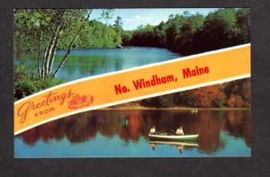 ME Greetings From North Windham MAINE Striped Banner Postcard   Carte Postale