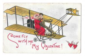 Valentine Postcard HB Griggs Artist Signed Couple in Biplane Embossed 1911