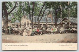 Cincinnati~Coney Island Amusement Park~Ladies~Lunch Room Tables~1908 Handcolored