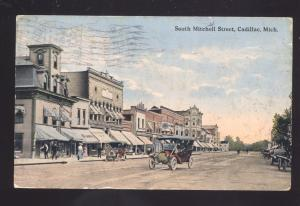 CADILLAC MICHIGAN DOWNTOWN MITCHELL STREET SCENE VINTAGE POSTCARD