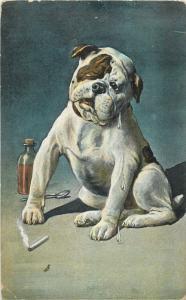 Bulldog cigarette crying dog caricature eraly 1906 postcard fantasy