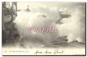 Old Postcard Boat War Canon A Coup 14cm