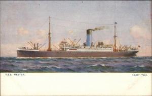 Blue Funnel Line Steamship TSS Nestor  Alfred Holt & Co c1910 Postcard