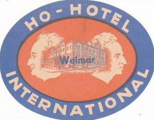 GERMANY WEIMAR HOTEL INTERNATIONAL VINTAGE LUGGAGE LABEL