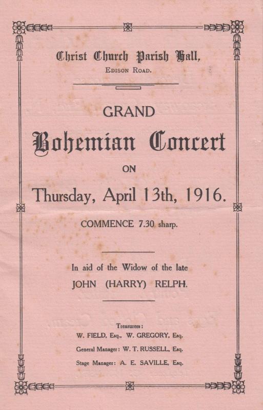 Bohemian Musical Edison Road Enfield London WW1 War Antique Theatre Programme