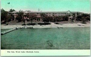 WEST LAKE OKOBOJI, Iowa Postcard The Inn Hotel, Bird's-Eye View c1910s Unused