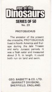 Trade Cards Geo. Bassett / Barratt AGE OF THE DINOSAURS No 23 Protosuchus