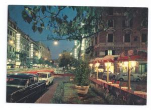 Italy Roma Via Veneto di Notte Rome by Night 4X6 Postcard