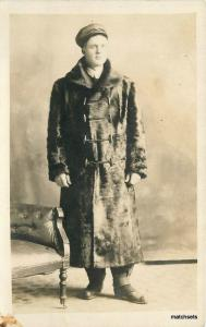 Circa 1910 Big Fur Coat Cap RPPC Real photo postcard 11558