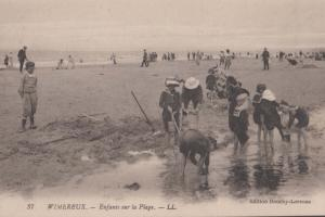 Wimereux Children Playing In Mud Fishing Plage Beach Antique French Postcard
