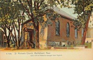 MARBLEHEAD MA~ST MICHAELS CHURCH-BUILT 1714 ~1900s ROTOGRAPH PHOTO POSTCARD