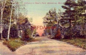 1913 ENTRANCE TO HENE'S PARK, MENOMINEE, MI vintage auto