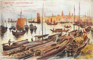 China Postcard Tien Tsin chocolat d'Aiguebelle harbor painting sailing boats