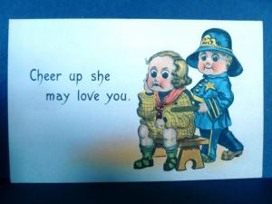 Postcard Romantic Greetings Cheer Up She May Love You Policeman