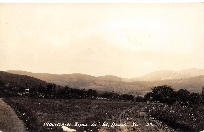 West Dover Vermont~Mountain View~Dirt Road in Foreground~c1930s RPPC