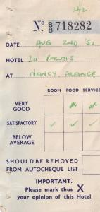 Hotel Du Palais Nancy France 1950s Receipt