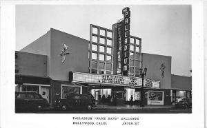 Hollywood CA Palladium Name Band Ballroom Marquee RPPC Postcard