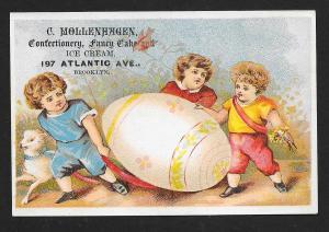 VICTORIAN TRADE CARD Mollenhagen Confectionery Kids, Huge Egg & Lamb