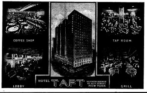New York City Hotel Taft Lobby Coffee Shop Tap Room and Grill