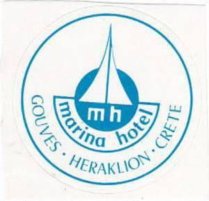GREECE HERAKLION GOUVES MARINA HOTEL VINTAGE LUGGAGE LABEL
