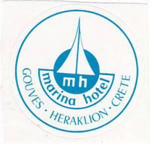 GREECE HERAKLION GOUVES MARINA HOTEL VINTAGE LUGGAGE LABEL