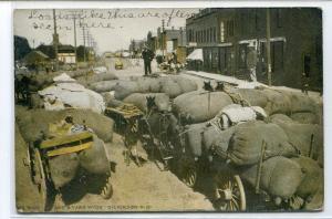 Wool Wagon Street Scene Dickinson North Dakota 1911 postcard