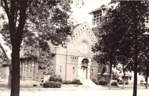 Iowa Ia Real Photo RPPC Postcard c1940s SPENCER Catholic Church Building